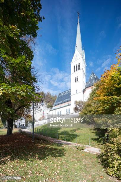 St Martin's Church in Bled during autumn, Slovenia