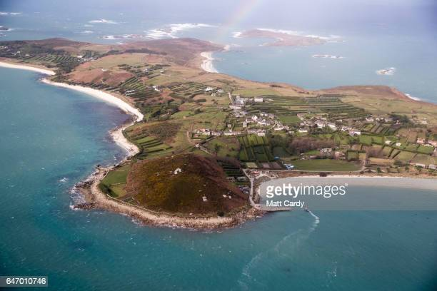 St Martin's on the Isles of Scilly is seen from the air on February 23 2017 in Cornwall England The temperate Isles of Scilly with a population of...