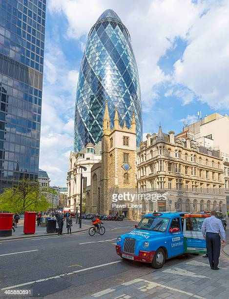 St Mary Axe aka Gherkin Swiss Re Building in the City of London