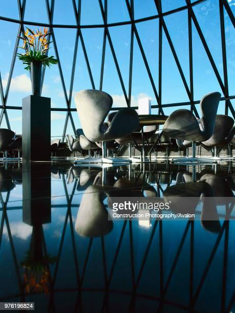 30 St Mary Axe or the Gherkin tables and chairs at the top of the tower
