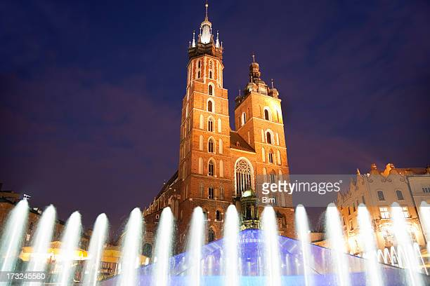 St. Mary Church at Dusk in Cracow, Poland