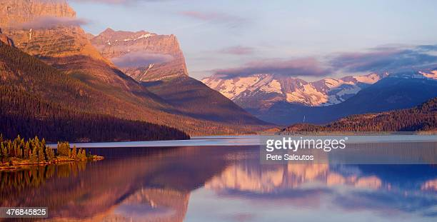 st mary lake, glacier national park, montana, usa - mary lake stock photos and pictures