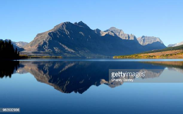 st. mary lake - mary lake stock photos and pictures