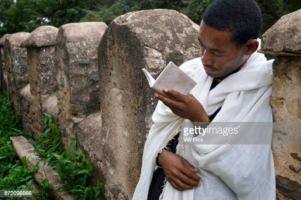St Mary of Zion church Aksum Ethiopia A devout Christian Coptic prays outside the church of St Mary of Zion in Axum the place where they believe the...