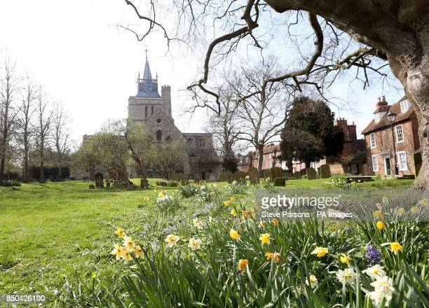 St Mary the Virgin church in Aylesbury Buckinghamshire where a man found a human ear was found yesterday while walking his dog in the graveyard