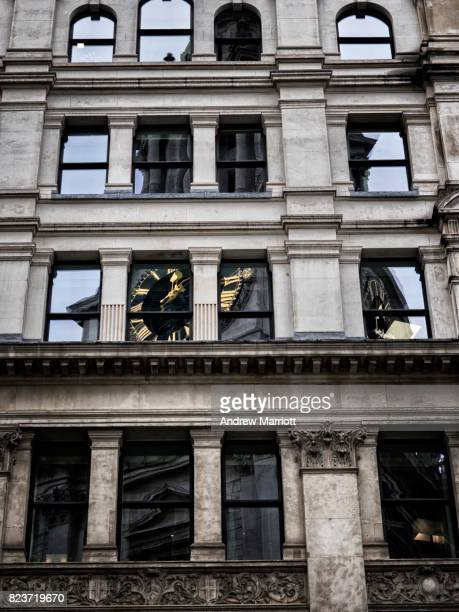 st mary-le-bow reflected in windows - st mary le bow church stock pictures, royalty-free photos & images