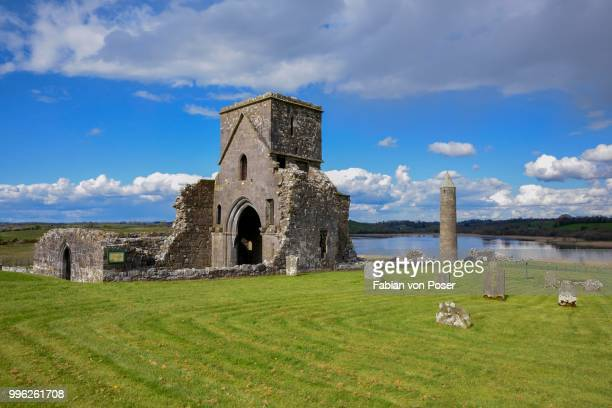 st mary's augustinian priory, augustinian monastery st. marien, devenish island, lough erne, fermanagh county, northern ireland, united kingdom - lough erne stock photos and pictures
