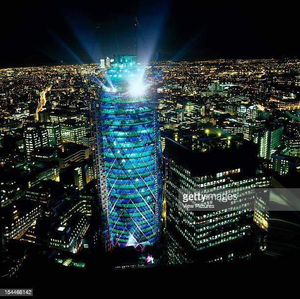 30 St Marys Axe The Gherkin Swiss Re London United Kingdom Architect Foster And Partners Swiss Re Tower St Mary Axe Gherkin Green And Blue Lighting...