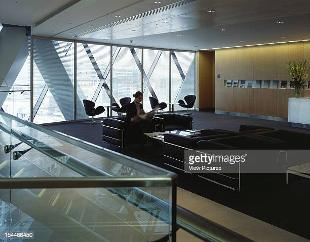 30 St Marys Axe The Gherkin Swiss Re London United Kingdom Architect Foster And Partners Swiss Re Tower St Mary Axe Gherkin View To Reception Desk...