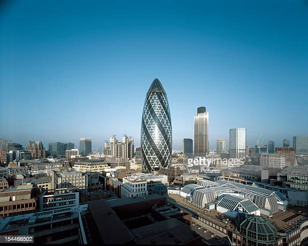 30 St Marys Axe The Gherkin Swiss Re London United Kingdom Architect Foster And Partners Swiss Re Tower St Mary Axe Gherkin City Of London From The...