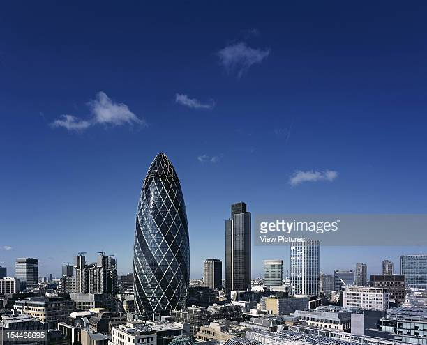 30 St Marys Axe The Gherkin Swiss Re London United Kingdom Architect Foster And Partners Swiss Re Tower St Mary Axe Gherkin London Skyline With...