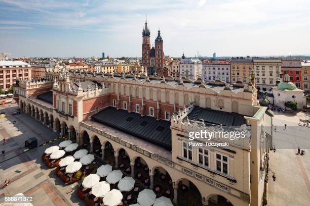st. mary's basilica from the 14th century seen from town hall tower, krakow, poland - 市場広場 ストックフォトと画像
