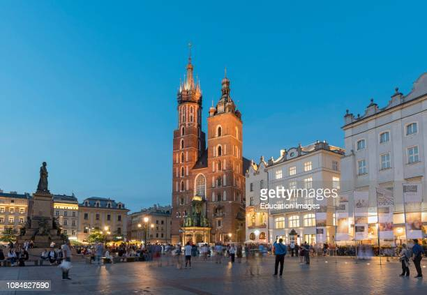 St Marys Basilica Kosciol Mariacki and Main Market Square Rynek Glowny in Krakow Poland