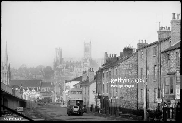 St Mary's Cathedral Church Minster Yard Lincoln Lincolnshire circa 1955circa 1980 General view of Lincoln looking along Melville Street towards the...