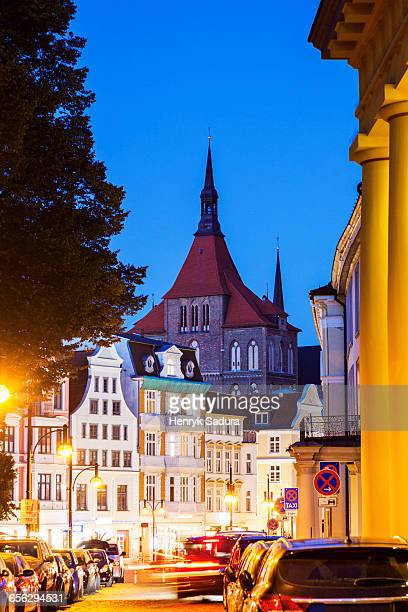 St Marys Church and architecture of Rostock Old Town Rostock, Mecklenburg-Vorpommern, Germany