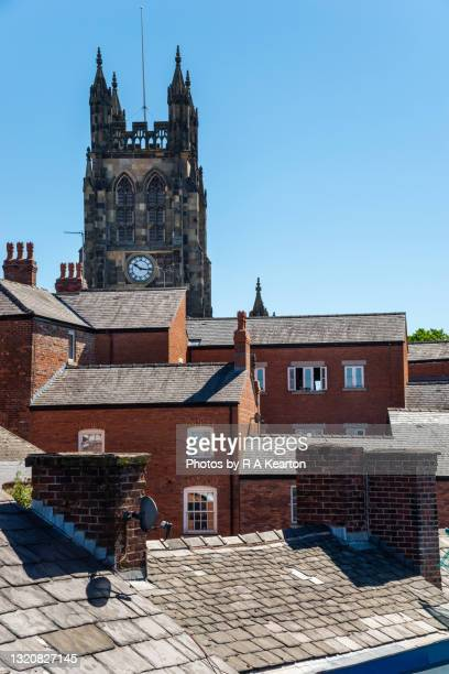 st mary's church and rooftops, stockport, england - vertical stock pictures, royalty-free photos & images
