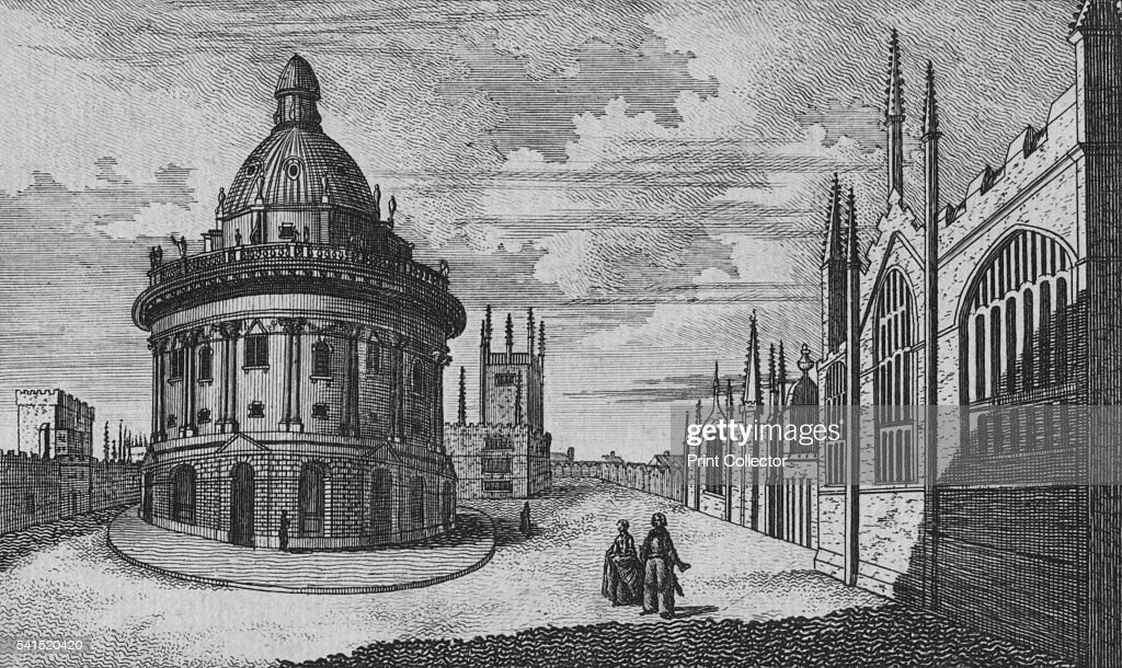 St. Marys Church & Radcliffe Library at Oxford, c18th century : News Photo
