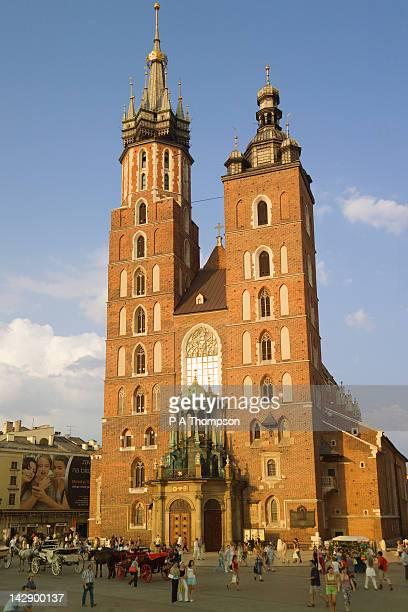 St Marys Church, Rynek Glowny, Krakow, Poland