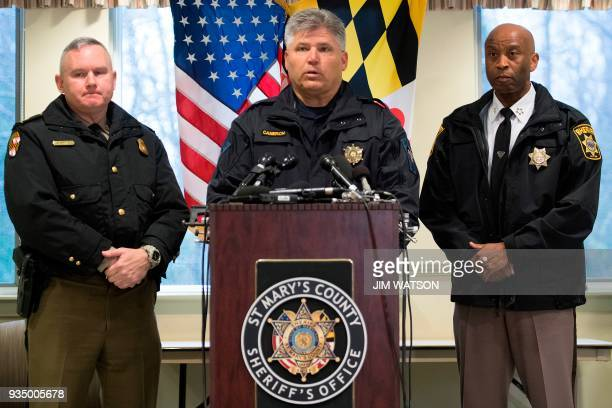 St Mary's County Sheriff Tim Cameron speaks during a press conference in Great Mills Maryland on March 20 2018 A shooting took place at a high school...