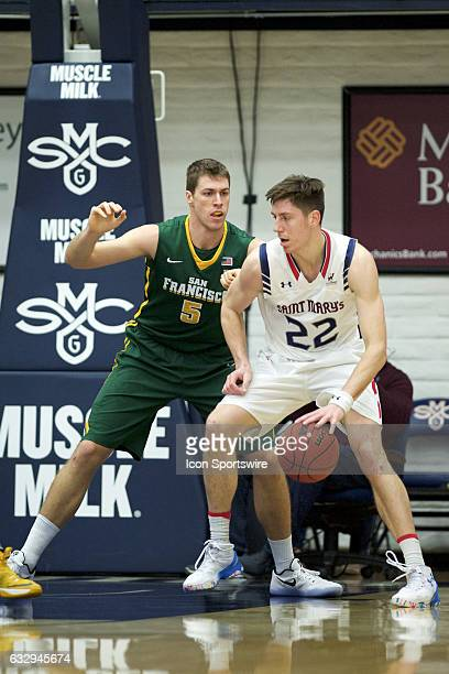 St Mary's Gaels forward Dane Pineau posts up against San Francisco Dons center Jimbo Lull during the Gaels' 6646 victory against the Dons on January...