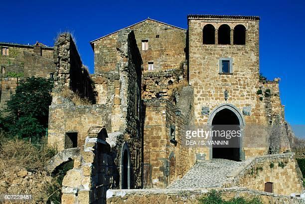 St Mary's gate, built on the Etruscan gate, Civita di Bagnoregio, Lazio, Italy.