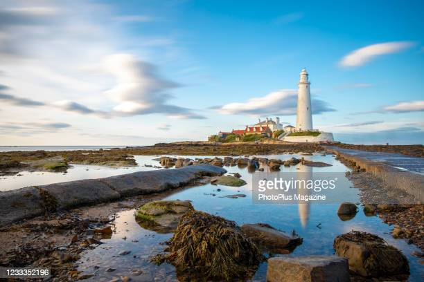 St Mary's Lighthouse near Whitley Bay in north-east England, taken on August 15, 2019.