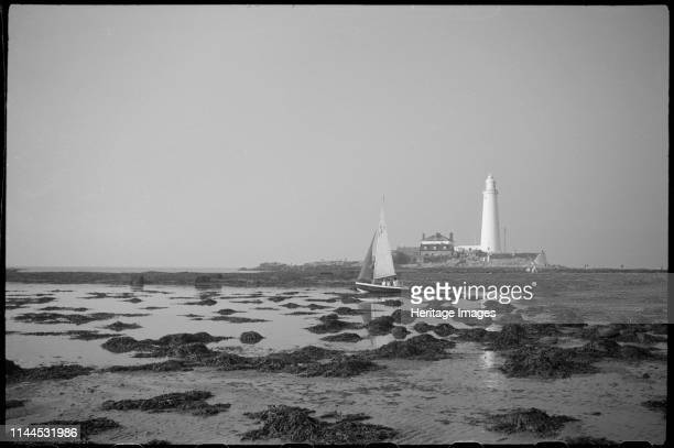 St Mary's Lighthouse, St Mary's Island, near Whitley Bay, North Tyneside, circa 1955-c1980. A general view of the lighthouse complex, showing the...