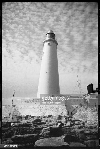 St Mary's Lighthouse Whitley Bay North Tyneside circa 1955circa 1980 An exterior view of the 19th century lighthouse showing the 126ft tall tower...