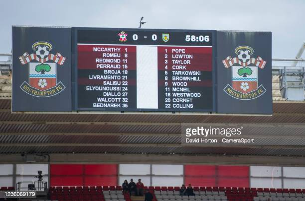 St Mary's Stadium - home of Southampton FC. Starting line-up during the Premier League match between Southampton and Burnley at St Mary's Stadium on...