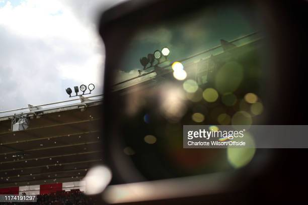 St Mary's Stadium is reflected in a TV camera during the Premier League match between Southampton FC and Chelsea FC at St Mary's Stadium on October 6...