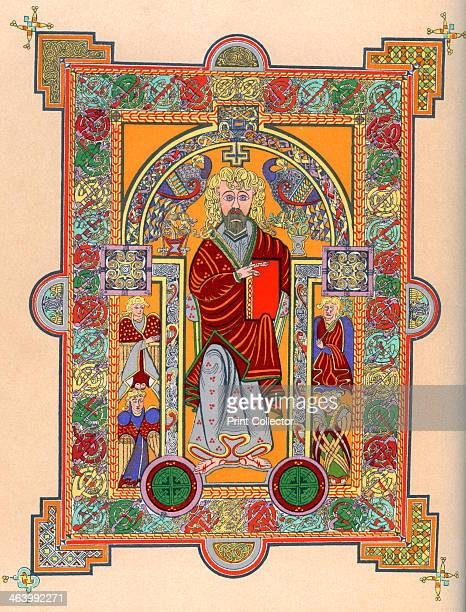 St Matthew, 7th century . From the Book of Kells, AD 650-690. An illustration from A Short History of the English People, by John Richard Green,...