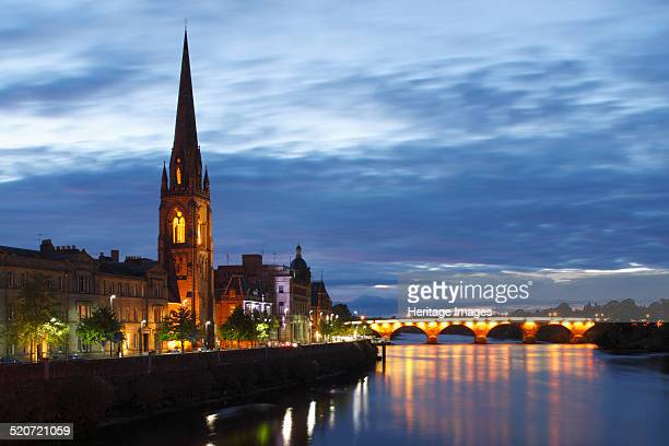 St Matthew's Church and Old Bridge, Perth, Perth and Kinross, Scotland, 2010. St Matthew's Church was designed in Gothic Revival style by John...