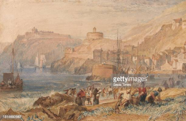 St. Mawes, Cornwall, Joseph Mallord William Turner, 1775–1851, British, ca. 1823, Watercolor and scraping out on moderately thick, slightly textured,...