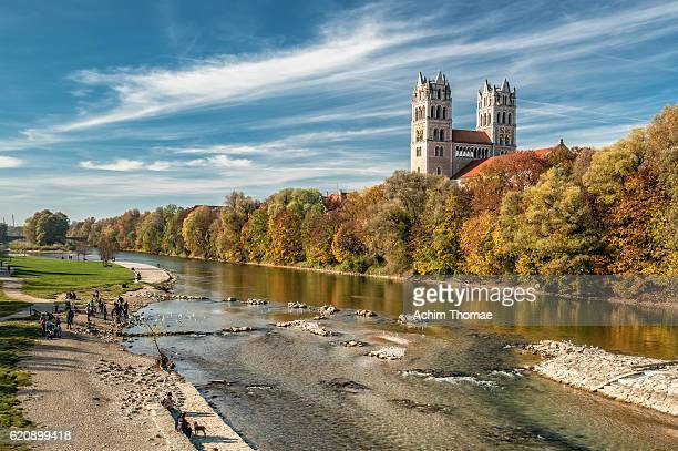 st. maximilian church and river isar, munich, bavaria, germany, europe - münchen stock-fotos und bilder