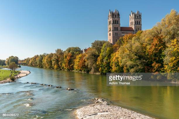 St. Maximilian Church and River Isar, Munich, Bavaria, Germany, Europe