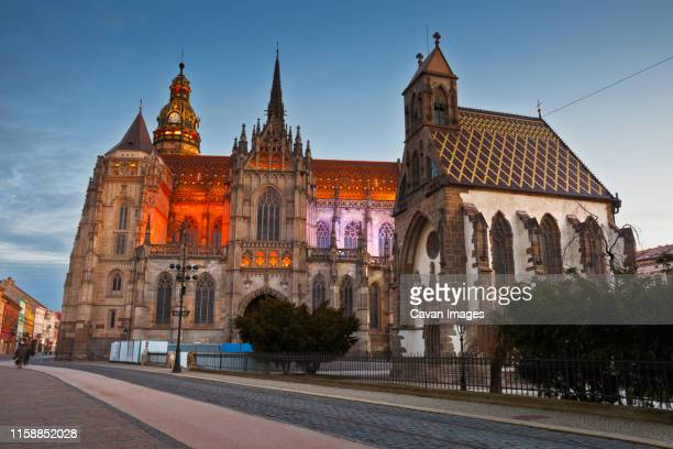 st. michael chapel and st. elisabeth cathedral in kosice, slovakia. - kosice stock pictures, royalty-free photos & images