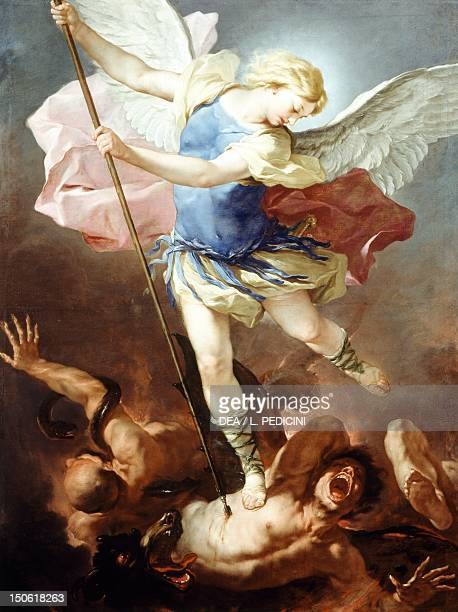St Michael defeats the demon by Luca Giordano oil on canvas 198x147 cm