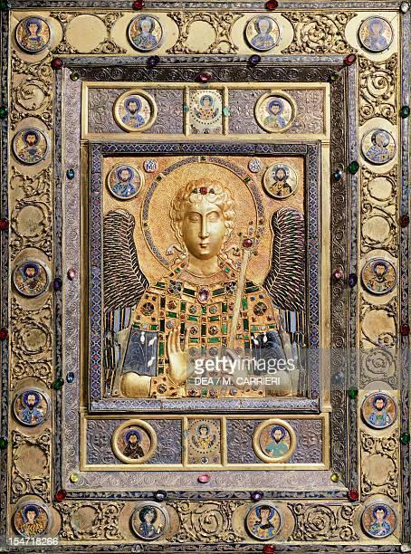 St Michael silver gilt plaque with enamel and precious stones Byzantine Goldsmith art 10th11th century