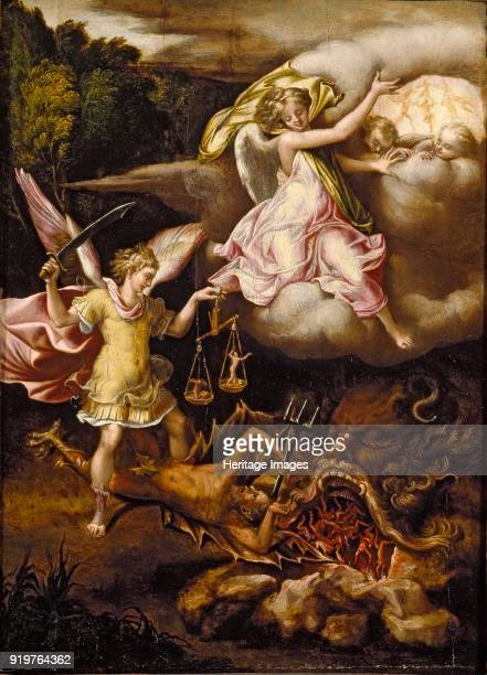 St Michael subduing Satan and weighing the Souls of the Dead circa 15401549 Artist Lelio Orsi