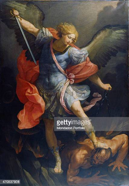 St Michael the Archangel by Reni Guido 17th Century oil on silk Italy Lazio Rome Santa Maria della Concezione Church Cappuccini Church Whole artwork...