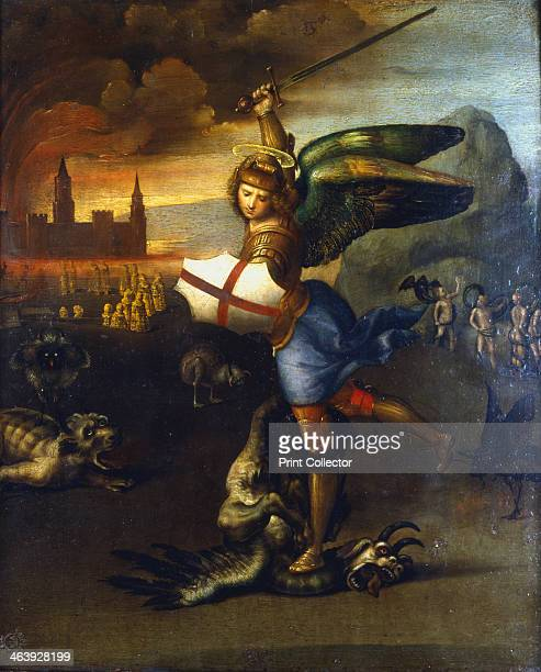 'St Michael the Archangel' c15031504 St Michael depicted as a knight in armour with shield and sword attacking the dragon as described in Revelations
