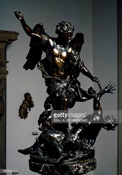 St Michael the Archangel overcoming the demon by Alessandro Algardi bronze sculpture Italy 17th century Bologna Museo Civico Medievale