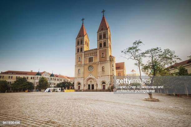 st. michael's cathedral in qingdao - qingdao beach stock pictures, royalty-free photos & images
