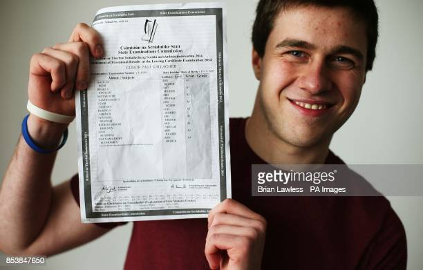 St Michael's College student Conor Gallagher from Ballsbridge Dublin with his leaving certificate results of nine higher level A1s