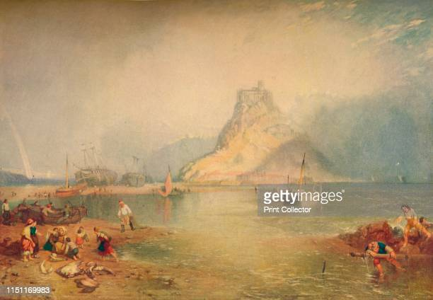 """St. Michael's Mount', circa 1830s, . St Michael's Mount is a small tidal island in Mount's Bay, Cornwall, England. From """"The Connoisseur Vol. LVI""""..."""