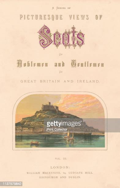 St Michael's Mount, circa 1880. View of St Michael's Mount, a small tidal island off the coast of Cornwall. The monastic buildings date from the 12th...