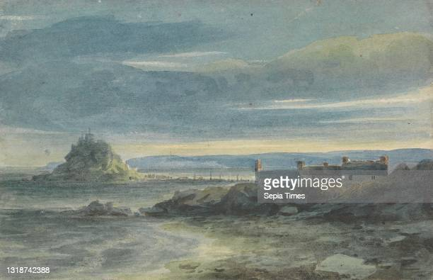 St. Michael's Mount, Cornwall, Attributed to Luke Clennell, 1781–1840, British, undated, Watercolor and graphite on medium, slightly textured, blued...