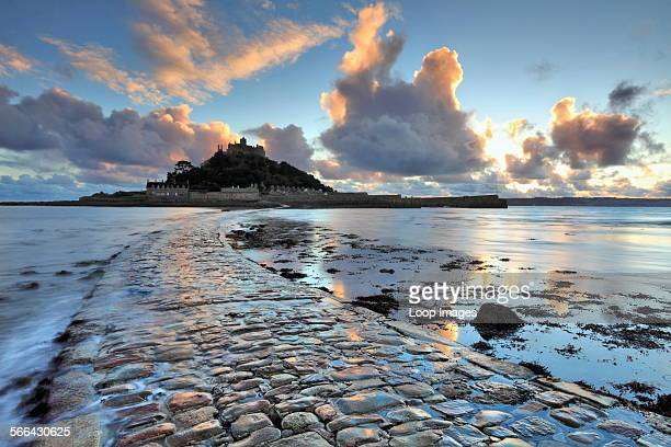 St Michael's Mount from the causeway at sunset.