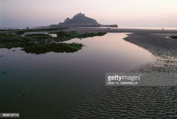 St Michael's Mount right before the high tide interrupts the connection to the mainland, Cornwall, United Kingdom.