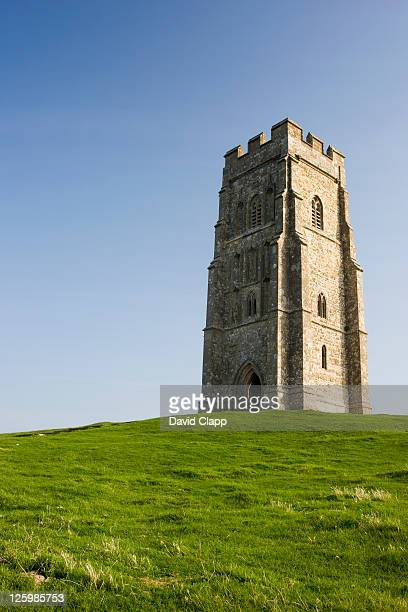 st michael's tower on glastonbury tor, somerset, england - glastonbury stock pictures, royalty-free photos & images